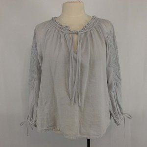 Lucky Brand Gray Metallic Embroidered Peasant Top
